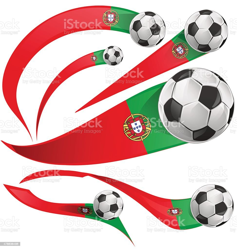 Portugal flag set with soccer ball vector art illustration