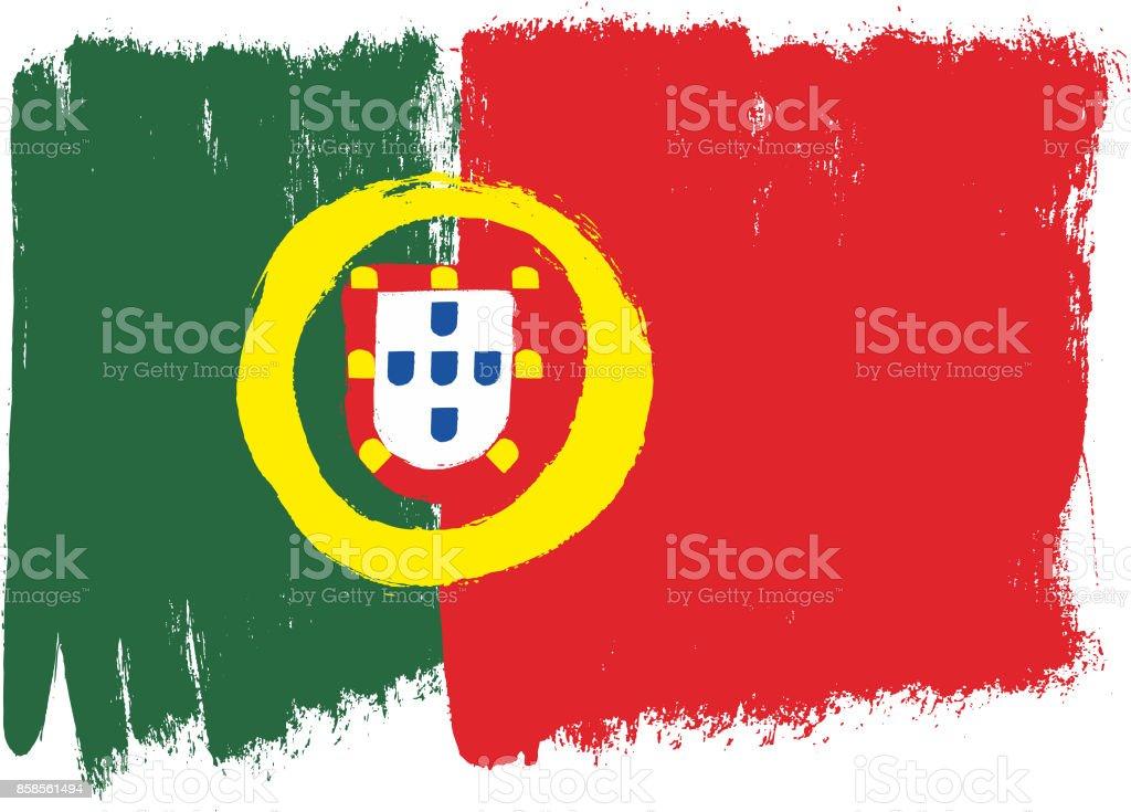Portugal Flag Vector Hand Painted with Rounded Brush - ilustração de arte vetorial