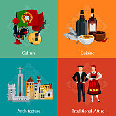 Bright 2x2 flat icons set with traditional portugal attire cuisine culture and architecture on colorful background isolated vector illustration