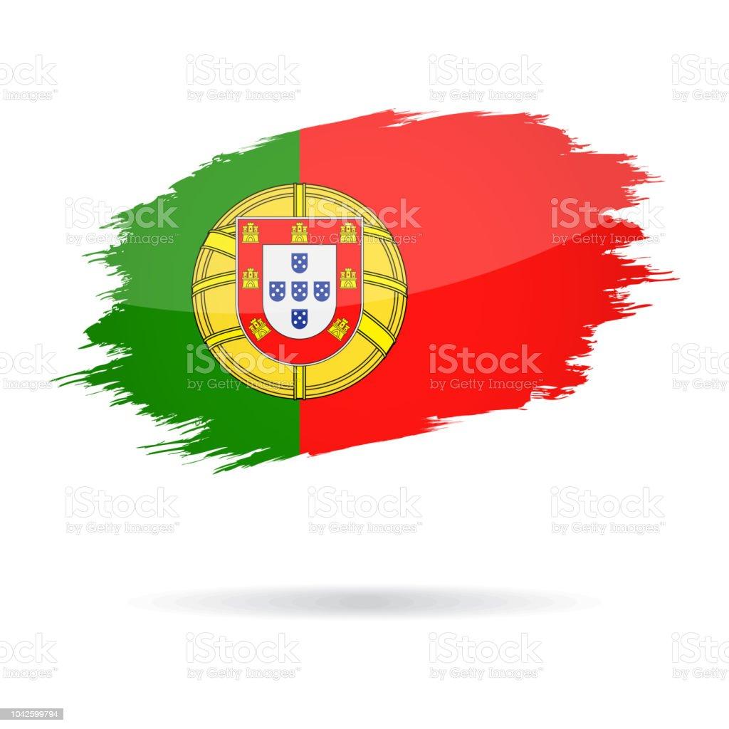 Portugal - Grunge Flag Vector Glossy Icon - ilustração de arte vetorial