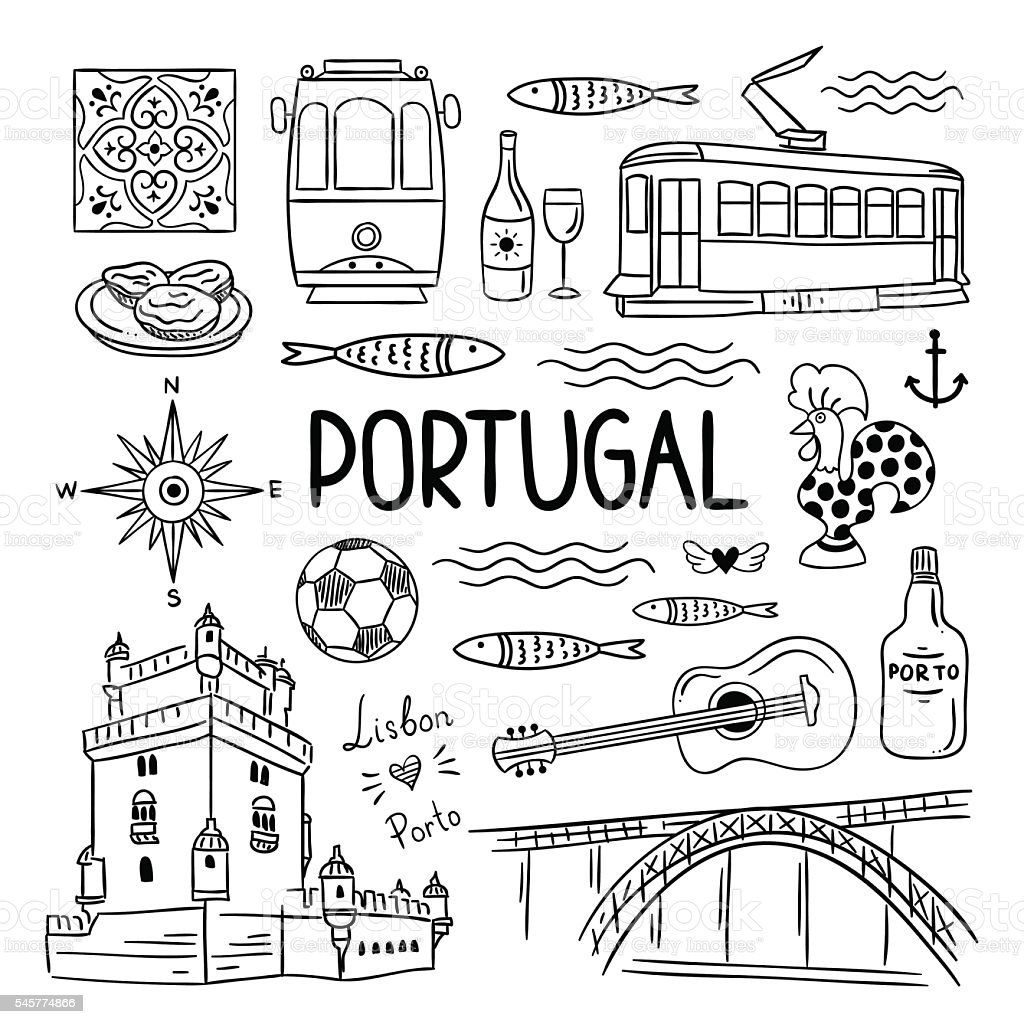 Portugal hand drawn icons. Lisbon and Porto travel illustrations vector art illustration