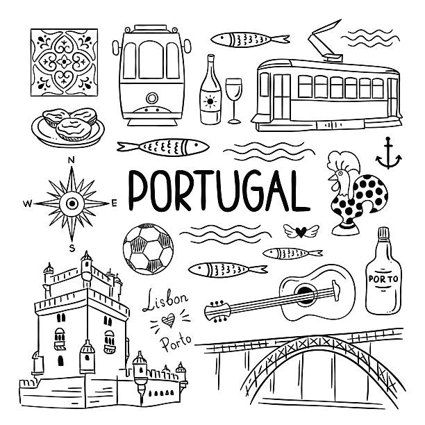 ilustrações de stock, clip art, desenhos animados e ícones de portugal hand drawn icons. lisbon and porto travel illustrations - porto portugal