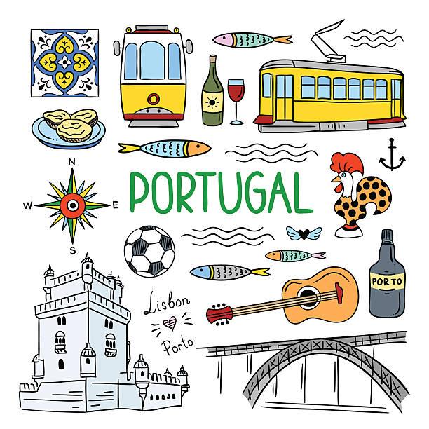 ilustrações de stock, clip art, desenhos animados e ícones de portugal hand drawn objects icons. lisbon and porto travel icons - eletrico lisboa