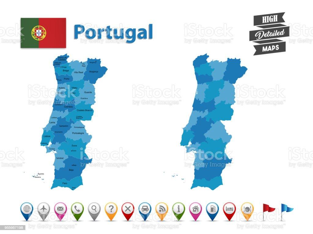 mapa gps portugal Ilustración de Portugal Mapa Detallado Alta Con Gps Icon  mapa gps portugal