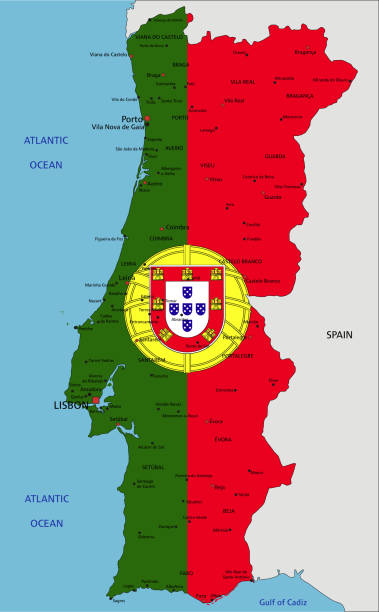 ilustrações de stock, clip art, desenhos animados e ícones de portugal highly detailed political map with national flag. - setubal