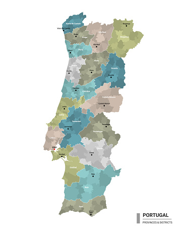 Portugal higt detailed map with subdivisions. Administrative map of Portugal with districts and cities name, colored by states and administrative districts. Vector illustration.