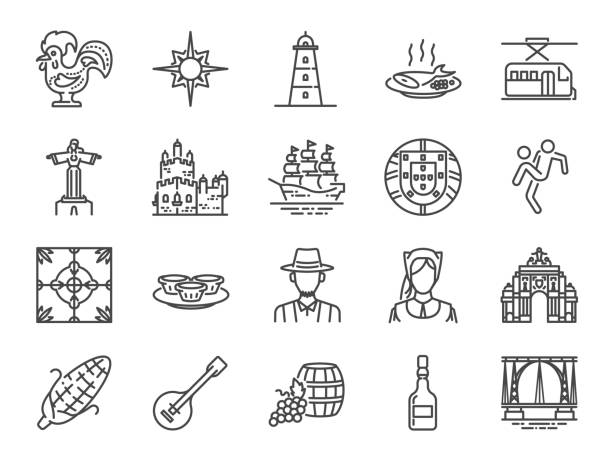 ilustrações de stock, clip art, desenhos animados e ícones de portugal icon set. included icons as portuguese, lisbon, cristo rei, belem, barcelos rooster, travel and more. - lisboa