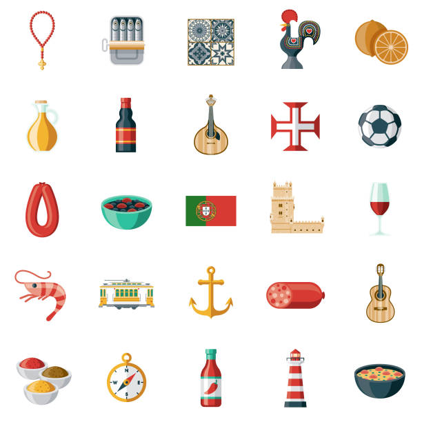 illustrazioni stock, clip art, cartoni animati e icone di tendenza di portugal icon set - lisbona