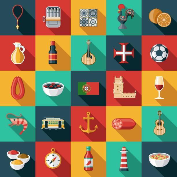 ilustrações de stock, clip art, desenhos animados e ícones de portugal icon set - portugal