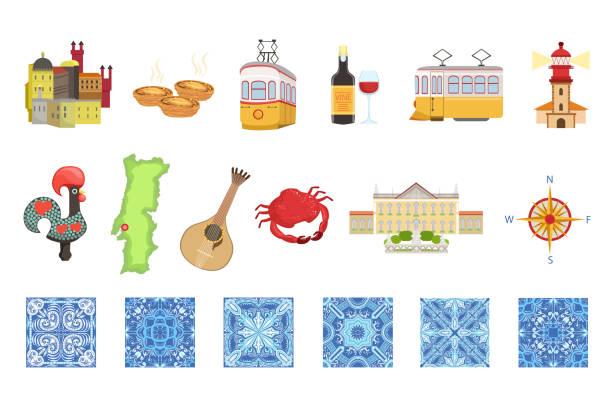 ilustrações de stock, clip art, desenhos animados e ícones de portugal icons set. portuguese national traditional symbols and objects - eletrico lisboa