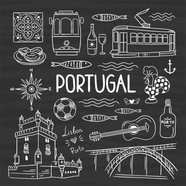 ilustrações de stock, clip art, desenhos animados e ícones de portugal illustration vector set. hand drawn travel symbols of portugal, lisbon and porto - porto portugal
