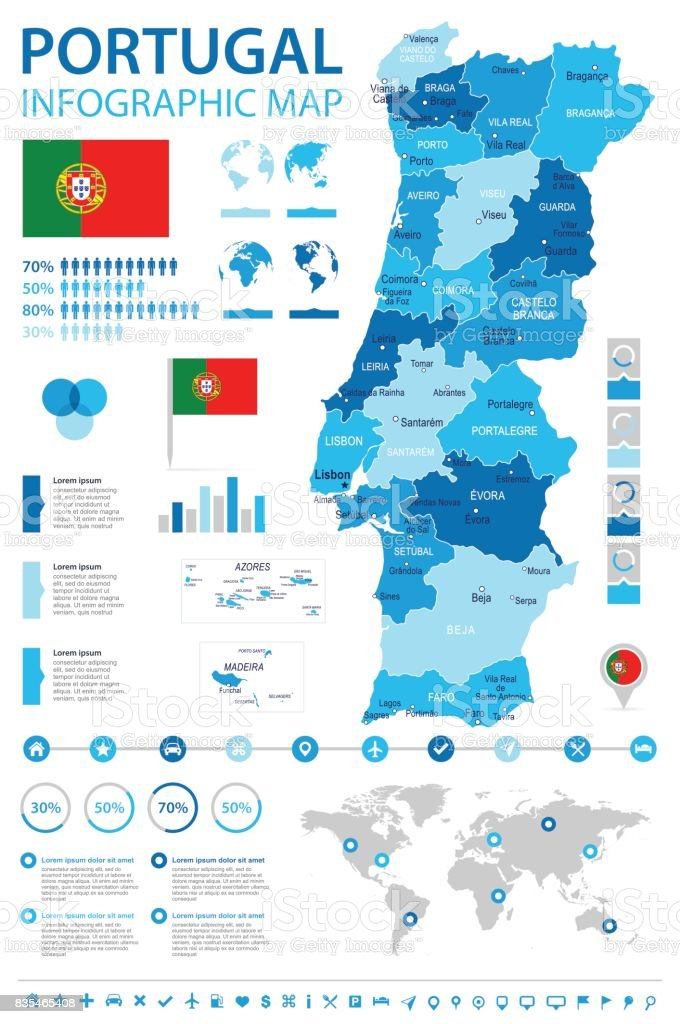Illustration de Portugal - carte infographique et drapeau- - Illustration vectorielle