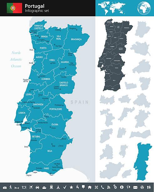 ilustrações de stock, clip art, desenhos animados e ícones de portugal-infográfico ilustração do mapa - portugal map