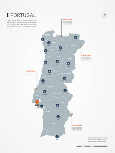 ilustrações de stock, clip art, desenhos animados e ícones de portugal infographic map vector illustration. - portugal map