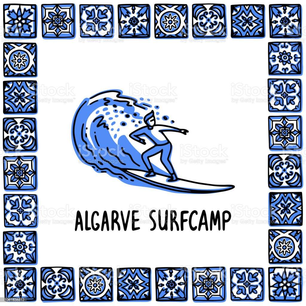 Ensemble de monuments de Portugal. Algarve Surf Camp. Surfeur surfe sur une vague dans le cadre des carreaux portugais, azulejo. Illustration vectorielle de style d'esquisse dessinée à la main. Exellent pour les aimants, bannière, souvenirs, cartes po - Illustration vectorielle