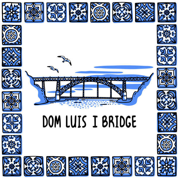ilustrações de stock, clip art, desenhos animados e ícones de portugal landmarks set. dom luis i bridge, porto. landscape of the famous bridge in a frame of portuguese tiles, azulejo. handdrawn sketch style vector illustration. exellent for souvenir products, magnets, banner, post cards - porto portugal