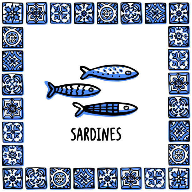 ilustrações de stock, clip art, desenhos animados e ícones de portugal landmarks set. fresh shellfish, traditional delicacy seafood. shellfish in frame of portuguese tiles. sketch style vector illustration, for souvenirs, magnets, post cards - porto portugal