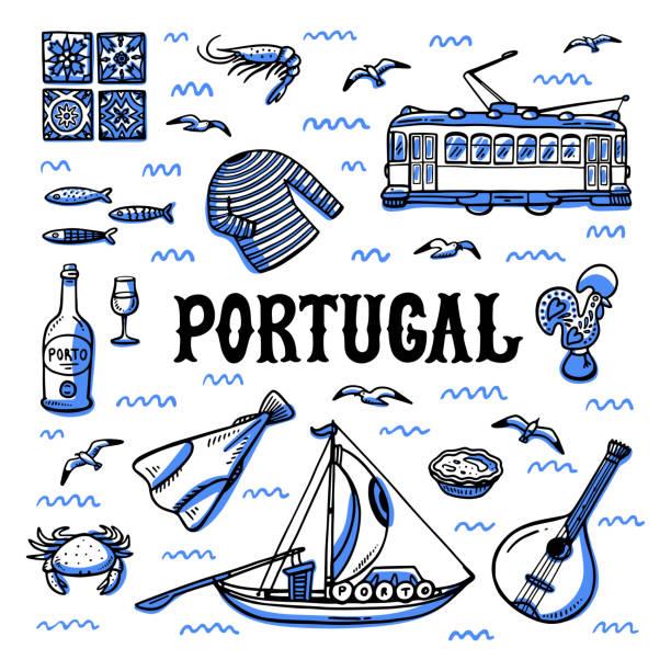 portugalia zabytków ustawić. ręcznie rysowana ilustracja wektorowa stylu szkicu - lizbona stock illustrations