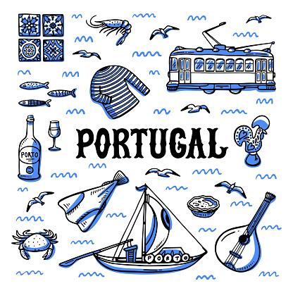 Portugal Landmarks Set Handdrawn Sketch Style Vector Illustration - Stockowe grafiki wektorowe i więcej obrazów Bazgroły - Rysunek