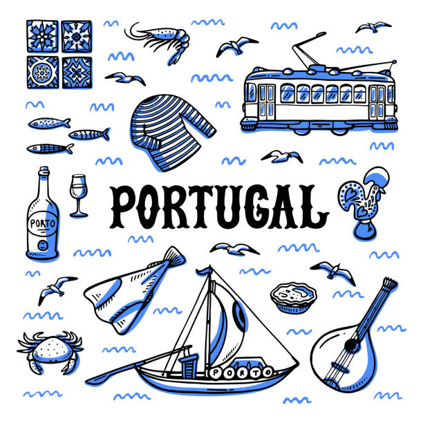 illustrazioni stock, clip art, cartoni animati e icone di tendenza di portugal landmarks set. handdrawn sketch style vector illustration - lisbona