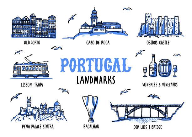 ilustrações de stock, clip art, desenhos animados e ícones de portugal landmarks set. handdrawn sketch style vector illustration - portugal