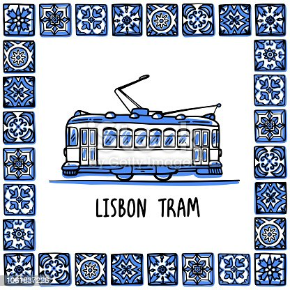 Portugal landmarks set. Lisbon retro tram. Traditional tramway in frame of Portuguese tiles, azulejo. Handdrawn sketch style vector illustration. Exellent for souvenirs, magnets, banner, post cards.