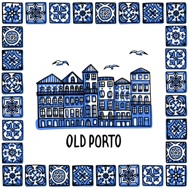 ilustrações de stock, clip art, desenhos animados e ícones de portugal landmarks set. old porto. landscape of the old town in a frame of portuguese tiles, azulejo. handdrawn sketch style vector illustration. exellent for souvenir products, magnets, banner, post cards - lisbon