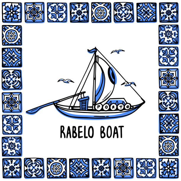 portugalia zabytków ustawić. rabelo łódź, łódź winiarnia. tradycyjna łódź porto w ramie portugalskich płytek, azulejo. ręcznie rysowana ilustracja wektorowa stylu szkicu. exellent na pamiątki, magnesy, pocztówki - lizbona stock illustrations