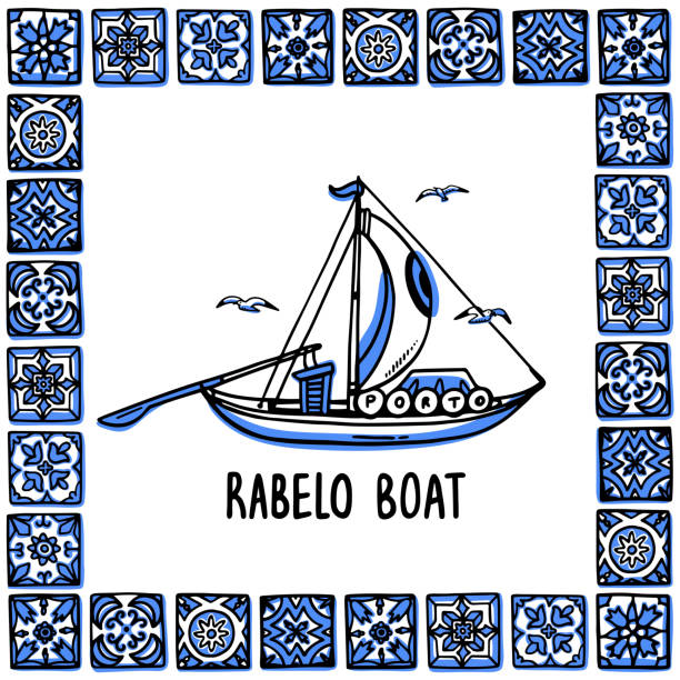 ilustrações de stock, clip art, desenhos animados e ícones de portugal landmarks set. rabelo boat, wine boat. traditional porto boat in frame of portuguese tiles, azulejo. handdrawn sketch style vector illustration. exellent for souvenirs, magnets, post cards - porto portugal