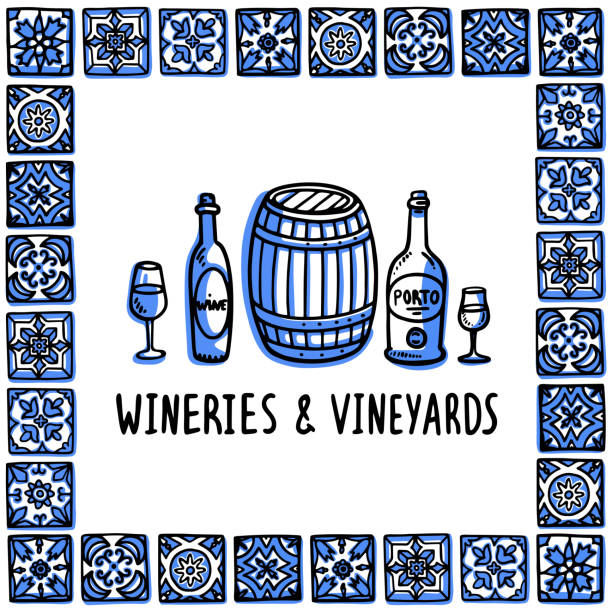 ilustrações de stock, clip art, desenhos animados e ícones de portugal landmarks set. wineries and vineyards tour. bottles, glasses of wine and wine barrel in frame of portuguese tiles. sketch style vector illustration, for souvenirs, magnets, post cards - porto portugal