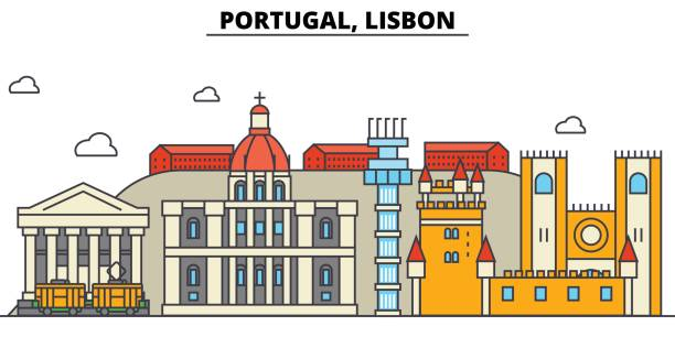 portugal, lisbon. city skyline: architecture, buildings, streets, silhouette, landscape, panorama, landmarks. editable strokes. flat design line vector illustration concept. isolated icons set - lizbona stock illustrations