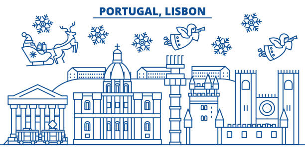 portugal, lisbon winter city skyline. merry christmas, happy new year decorated banner with santa claus.winter greeting line card.flat, outline vector.linear christmas snow illustration - lizbona stock illustrations