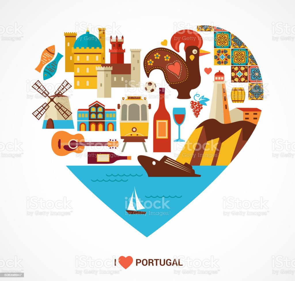 Portugal love - heart with vector icons vector art illustration