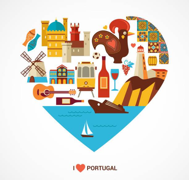 ilustrações de stock, clip art, desenhos animados e ícones de portugal amor-coração com ícones vetoriais - algarve
