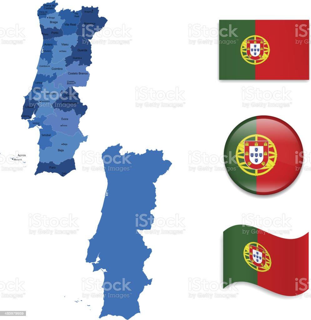 Portugal mapa e a bandeira de recolha - ilustração de arte vetorial