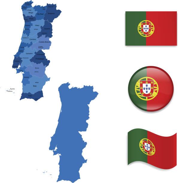 ilustrações de stock, clip art, desenhos animados e ícones de portugal mapa e a bandeira de recolha - douro