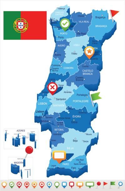 stockillustraties, clipart, cartoons en iconen met portugal - kaart en afbeelding markeren - albufeira
