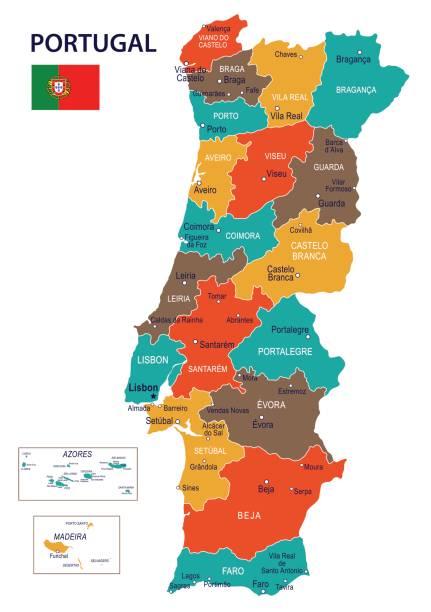 stockillustraties, clipart, cartoons en iconen met portugal - kaart en vlag – illustratie - albufeira