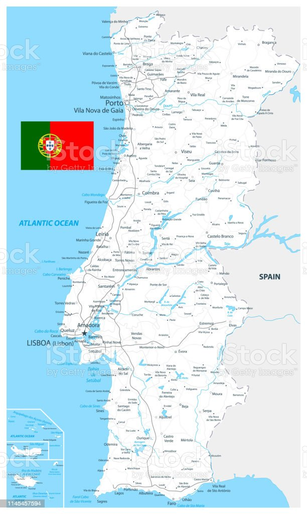 Mapa De Carreteras Portugal.Ilustracion De Portugal Mapa Y Carreteras Color Blanco Y Mas