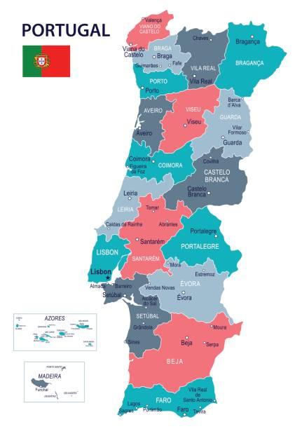 stockillustraties, clipart, cartoons en iconen met 09 - portugal kaart - blue spot geïsoleerde 10 - albufeira