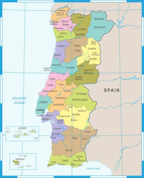 stockillustraties, clipart, cartoons en iconen met portugal kaart - gedetailleerde vectorillustratie - albufeira