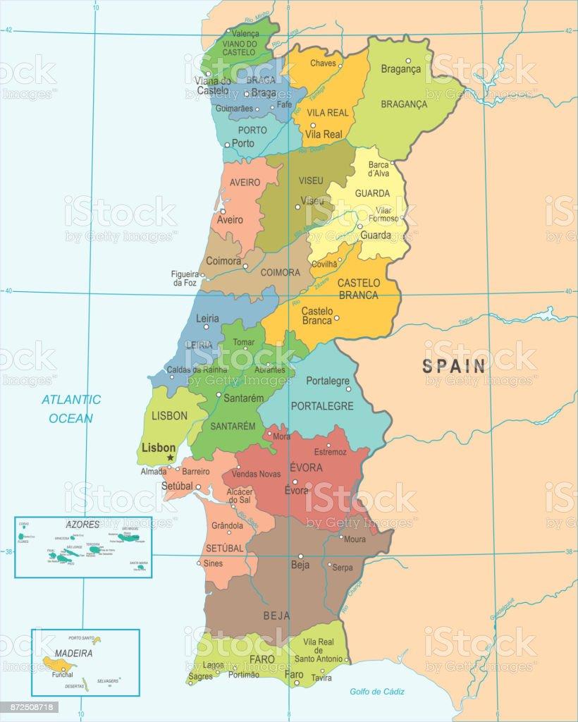 Carte de Portugal - Illustration détaillée de vecteur - Illustration vectorielle