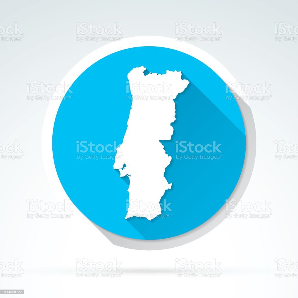 Portugal Map Icon Flat Design Long Shadow Stock Vector Art - Portugal map icon