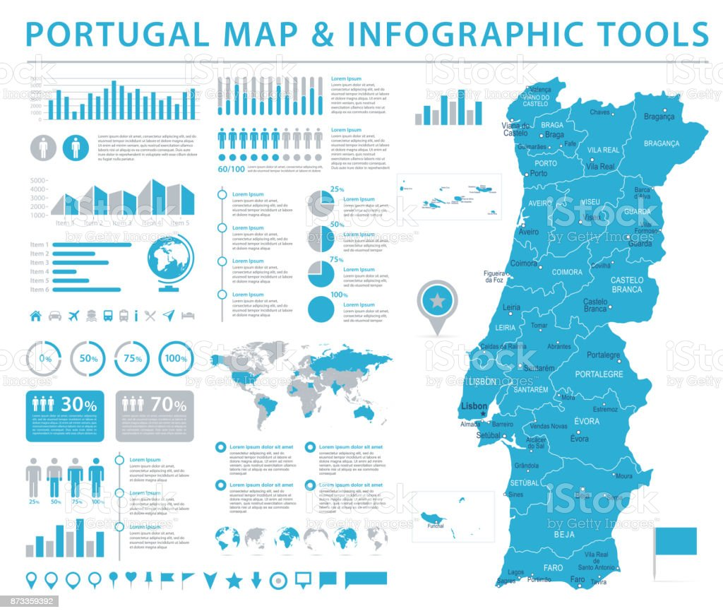Portugal Map - Info Graphic Vector Illustration vector art illustration