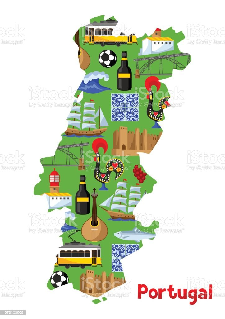 Portugal Map Portuguese National Traditional Symbols And Objects