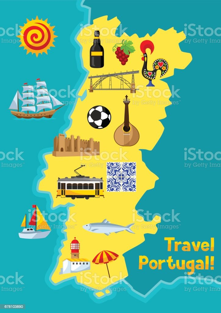 Portugal Map Portuguese National Traditional Symbols And Objects - Map of portugal