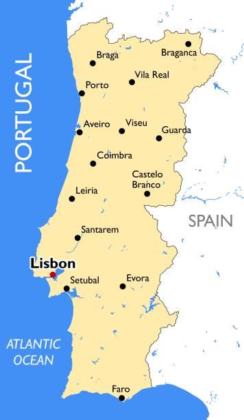 ilustrações de stock, clip art, desenhos animados e ícones de portugal map - vila real