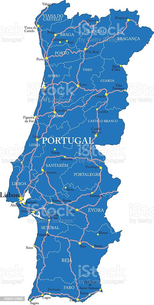 Carte du Portugal - Illustration vectorielle