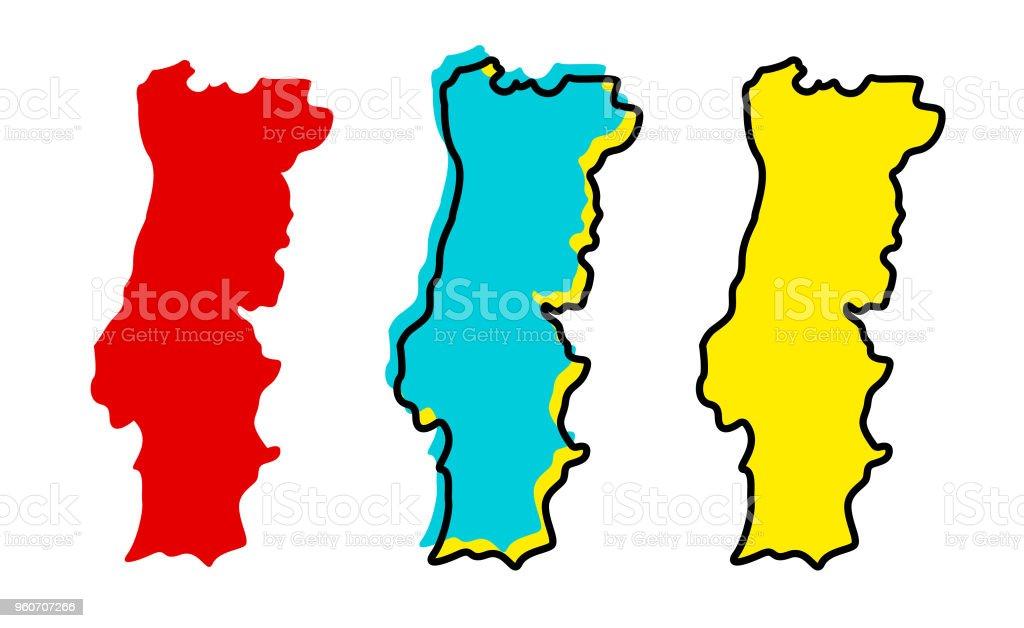 Portugal map vector art illustration