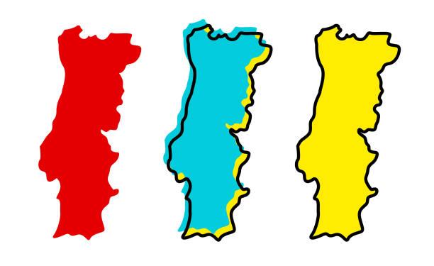 ilustrações de stock, clip art, desenhos animados e ícones de portugal map - portugal map